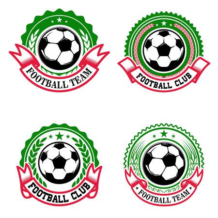 Set bunte Fußballvereinembleme. Fußballverein. Gestaltungselement für Ikone, Aufkleber, Emblem, Zeichen. Vektor-Illustration.