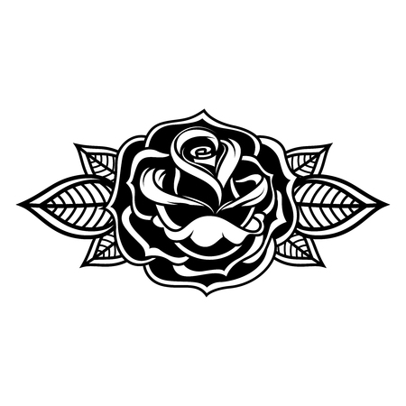 Rose illustration in tattoo style. Design element for icon, label, emblem, sign, banner, poster. Vector illustration. Illustration