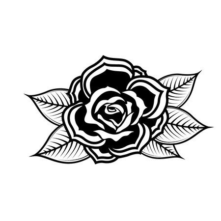 Rose illustration in tattoo style. Design element for poster, emblem, sign, t-shirt. Vector illustration.