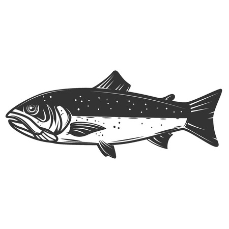 Salmon illustration isolated on white background. Fishing. Seafood. Design element for icon, label, emblem, sign. Vector illustration.