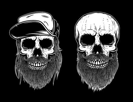 Set of bearded skulls isolated on dark background. Design element for poster, icon, label, emblem, sign, t shirt. Vector illustration. Ilustração