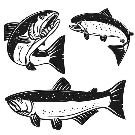 白い背景に隔離されたサーモン魚のアイコンのセット。ポスター、アイコン、ラベル、エンブレム、サイン、Tシャツのデザイン要素。ベクトルイラ  イラスト・ベクター素材
