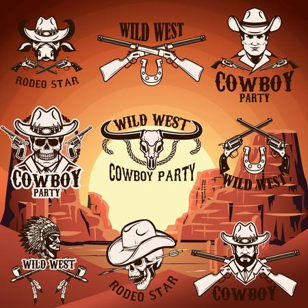 Set van wilde westen emblemen op achtergrond met bergen. Ontwerpelement voor pictogram, label, embleem, teken. Vector illustratie