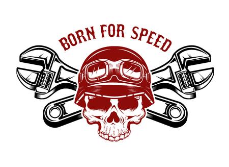交差レンチを持つレーサーヘルメットの人間の頭蓋骨。ラベル、エンブレム、記号のデザイン要素。 写真素材 - 92916058