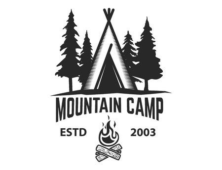 Mountain camp emblem template. Camping tent with trees and campfire. Design element for label, emblem, sign.