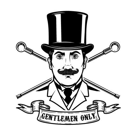 Gentlemen club emblem template. Design element for label, emblem, sign.