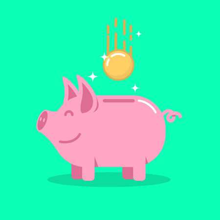 Piggy bank with coin in flat style. Design element for banner, animation.