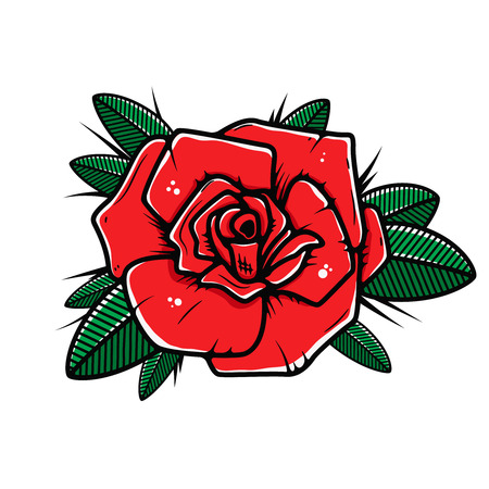 Rose flower illustration in tattoo style isolated on white background. Design element for poster, banner, t shirt.