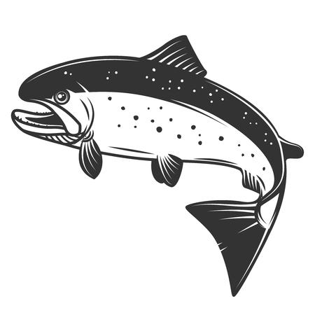 白い背景に隔離されたサーモンイラスト。釣りとシーフードのコンセプト。ラベル、エンブレム、記号のデザイン要素。