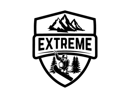 Extreme. Emblem with snowboarder. Design element for label, emblem, sign. Illustration