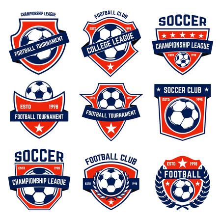 Satz Fußball, Fußballembleme. Gestaltungselement für Label, Emblem, Zeichen.