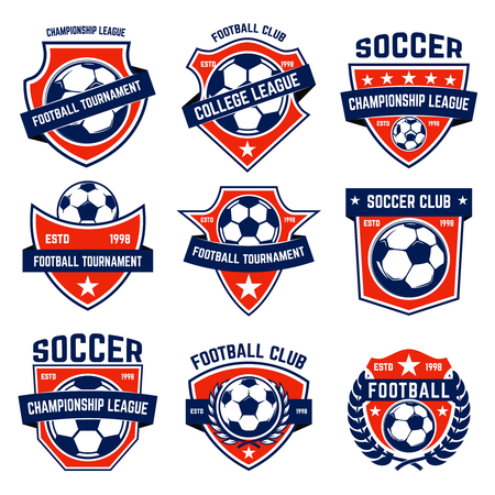 Set of soccer, football emblems. Design element for  label, emblem, sign. Reklamní fotografie - 92917607