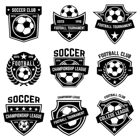 Set of soccer, football emblems. Design element for label, emblem, sign.