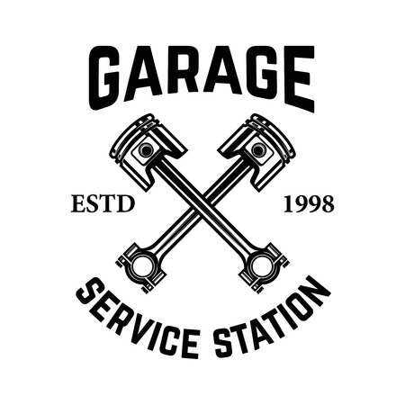 Garage. Service station. Emblem with crossed pistons. Car repair. Design element for logo, label, emblem, sign. Vector illustration
