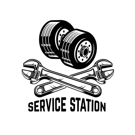 Garage. Service station. Car repair. Design element for logo, label, emblem, sign. Vector illustration