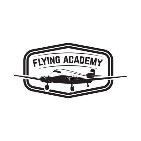 aviation training center emblem template with retro airplane
