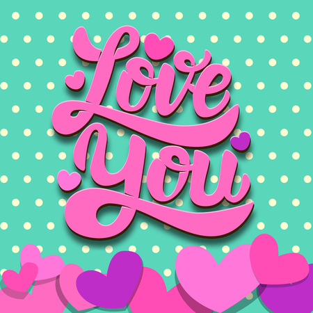 Love you. Lettering phrase on colorful background with paper hearts. Valentines Day theme. Design element for poster, card, banner. Vector illustration