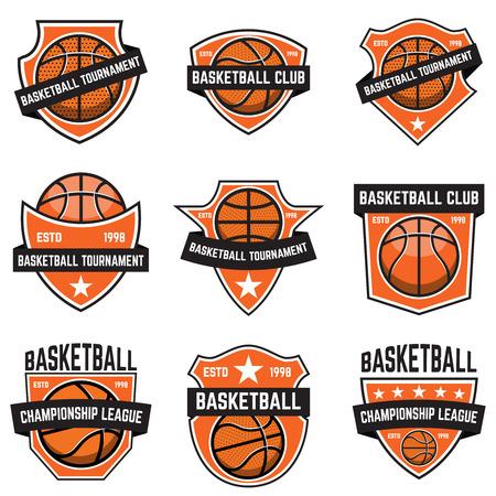 Set of basketball sport emblems. Design element for poster, logo, label, emblem, sign, t shirt. Vector illustration