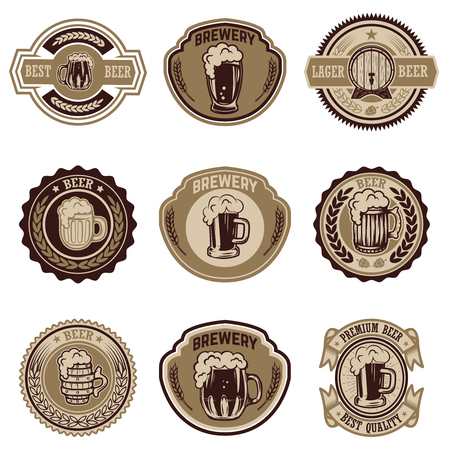 Set of vintage beer labels. Design elements for logo, label, emblem, sign, menu. Vector illustration