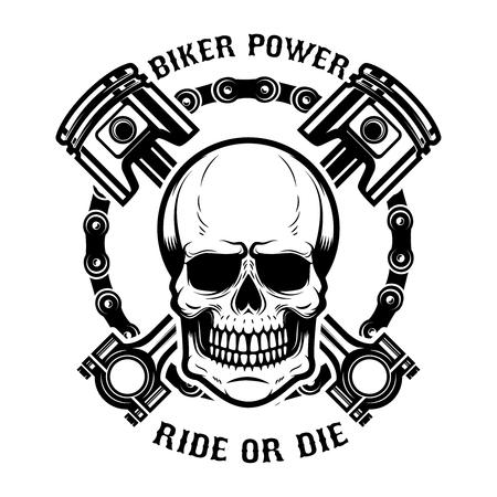 Motorrijder, rijden of sterven. Menselijke schedel met gekruiste zuigers. Ontwerpelement voor logo, etiket, embleem, teken. Vector illustratie Stock Illustratie