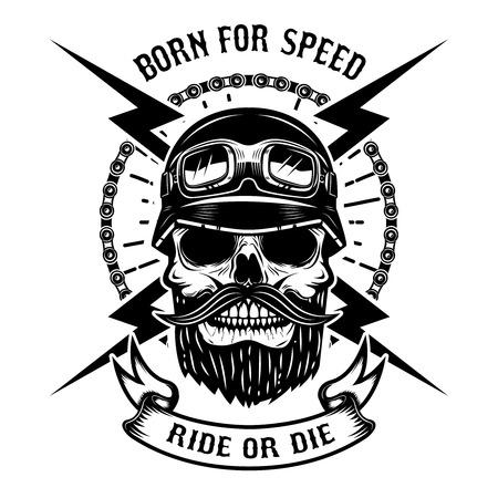 Geboren voor snelheid. Rijd of sterf. Menselijke schedel in racer helm. Ontwerpelement voor logo, label, embleem, teken. Vector illustratie