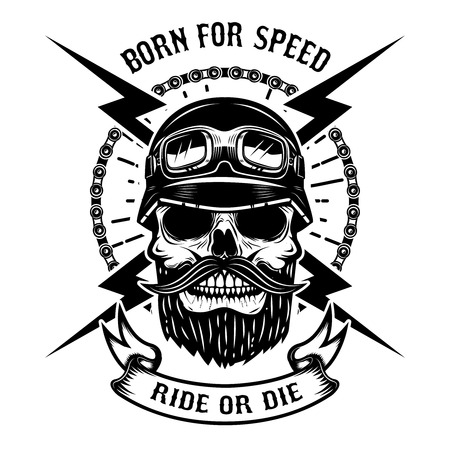 Born for speed. Ride or die. Human skull in racer helmet. Design element for logo, label, emblem, sign. Vector illustration