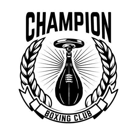 Champion boxing club. Emblem template with boxer punching bag. Design element for logo, label, emblem, sign. Vector illustration Ilustração
