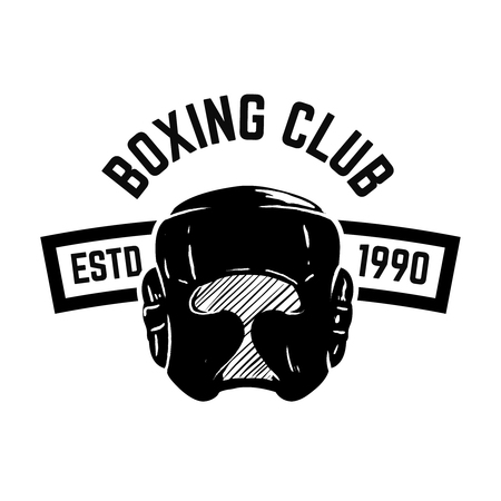 Boxing club. Emblem with boxing hand drawn boxing helmet.