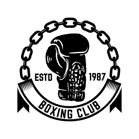 Boxing club. Emblem with boxing hand drawn boxing glove.