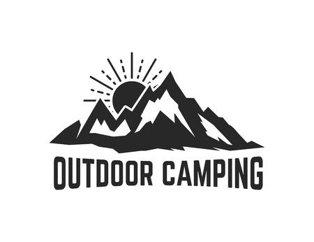Mountain camp emblem template. Design element for logo, label, emblem, sign. Vector illustration