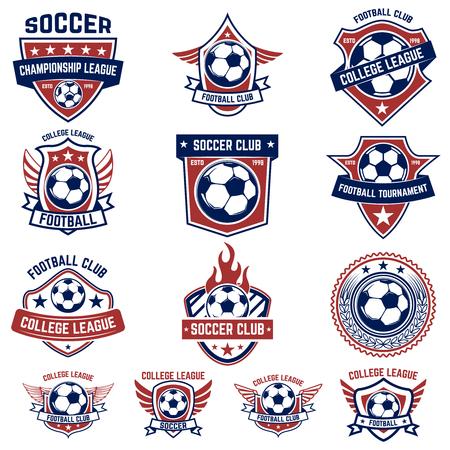 Set of soccer, football emblems. Design element for logo, label, emblem, sign. Vector illustration Illustration