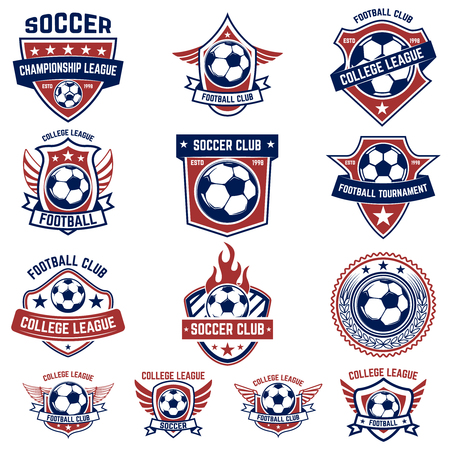Set of soccer, football emblems. Design element for logo, label, emblem, sign. Vector illustration Stock Illustratie