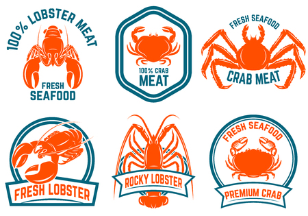 Set of seafood, lobster, crab meat isolated on white background. Design elements for logo,label, emblem, sign. Vector illustration