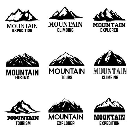 Set of mountain icons isolated on white background. Design elements for logo,label, emblem, sign. Vector illustration