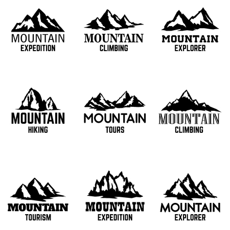 白い背景に隔離された山のアイコンのセット。ロゴ、ラベル、エンブレム、記号のデザイン要素。ベクトルイラスト  イラスト・ベクター素材