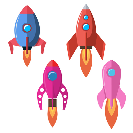 Set of flat style rocket illustrations isolated on white background. Design element for banner, emblem, motion design. Vector illustration Vectores