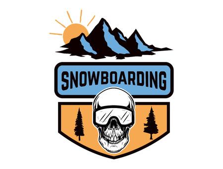 Snowboarding. Emblem with snowboarder skull. Design element for logo, label, emblem, sign. Vector illustration Çizim