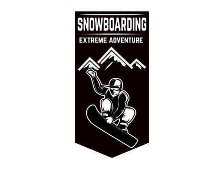 Extreme. Emblem with snowboarder. Design element for logo, label, emblem, sign. Vector illustration