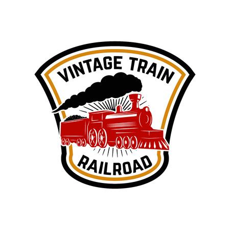 Emblem template with retro train. Rail road. Locomotive. Design element for logo, label, emblem, sign. Vector illustration