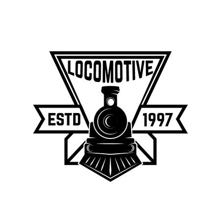 Emblema com trem retro. Ferrovia. Locomotiva. Elemento de design para logotipo, rótulo, emblema, sinal. Ilustração do vetor