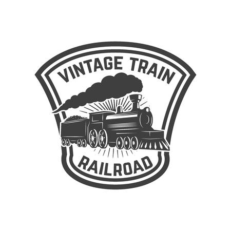 Embleemmalplaatje met retro trein. Spoorweg. Locomotief. Ontwerpelement voor logo, label, embleem, teken. Vector illustratie Stock Illustratie