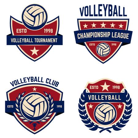 Set of volleyball champions league emblems. Design elements for logo, label, emblem, sign. Vector illustration Logo