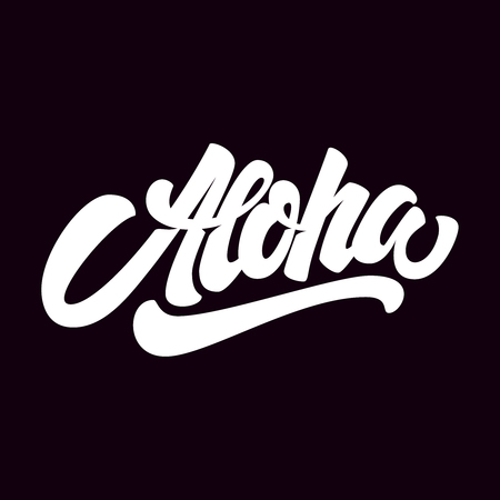 Aloha lettrage sur fond sombre. Élément de design pour affiche, carte, t-shirt. Illustration vectorielle