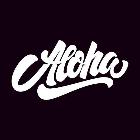 Aloha Schriftzug auf dunklem Hintergrund. Gestaltungselement für Plakat, Karte, T-Shirt. Vektor-illustration