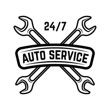 ロゴ、ラベル、エンブレム、オートサービス、サービスステーション、車の修理のためのサインのためのデザイン。ベクトルイラスト。