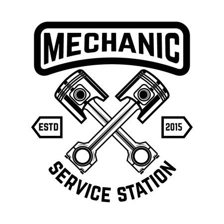 自動サービス。サービスステーション車の修理ロゴ、ラベル、エンブレム、記号のデザイン要素。ベクトルイラスト  イラスト・ベクター素材
