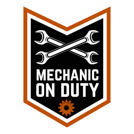 Mechanic on duty. Emblem template with crossed wrenches. Car repair Design element for logo, label, emblem, sign Vector illustration