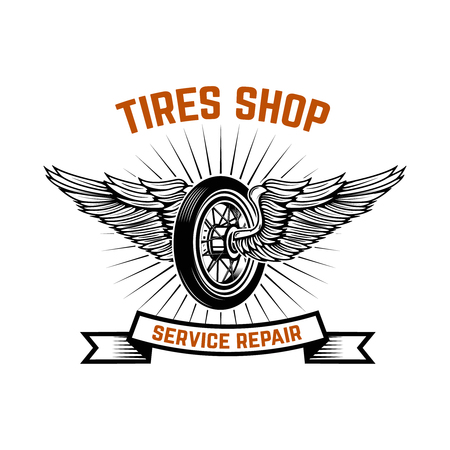 Garage. Service station. Car repair. Design element for logo, label, emblem, sign. Vector illustration