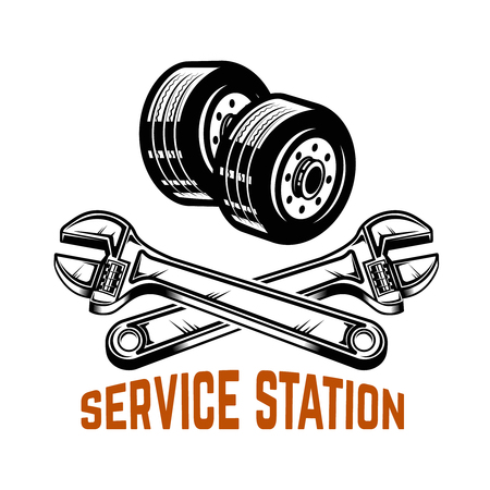 Garage Service station. Car repair Design element for logo, label, emblem, sign Vector illustration
