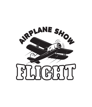 Aviation training center emblem template with retro airplane. Design element for logo, label, emblem, sign Vector illustration Illustration